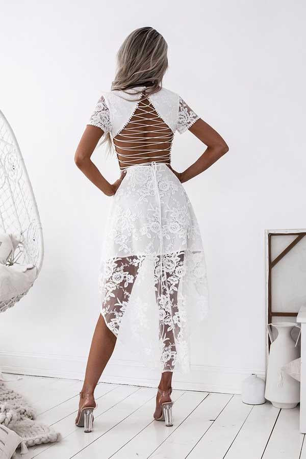 Elegant White High Low Lace Open Back Homecoming Dresses With Sleeves Z0947