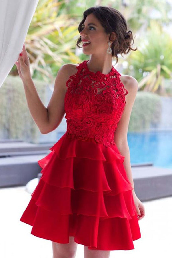 New Beautiful Short Red Lace A-line Homecoming Dresses Cocktail Dresses Z0948
