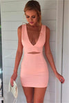 Sexy Deep V-neck Simple Cheap Sheath Pink Homecoming Dresses Z0949