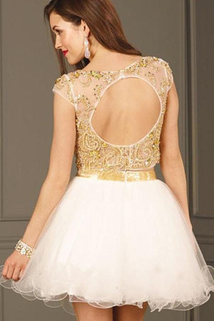 Sparkly 2 Pieces Short Open Back Beading Tulle Ivory Homecoming Dresses Z0950