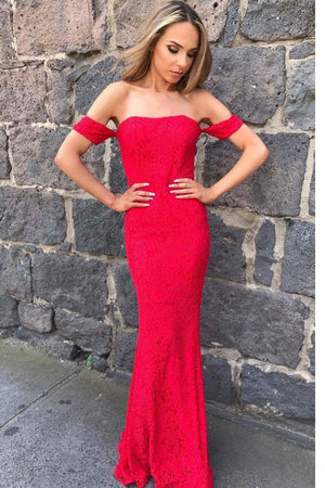 Modest Off The Shoulder Sheath Red Long Lace Prom Dresses Z0952