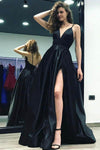 Open Back Black Front Split Satin Long V-neck Prom Dresses Z0965