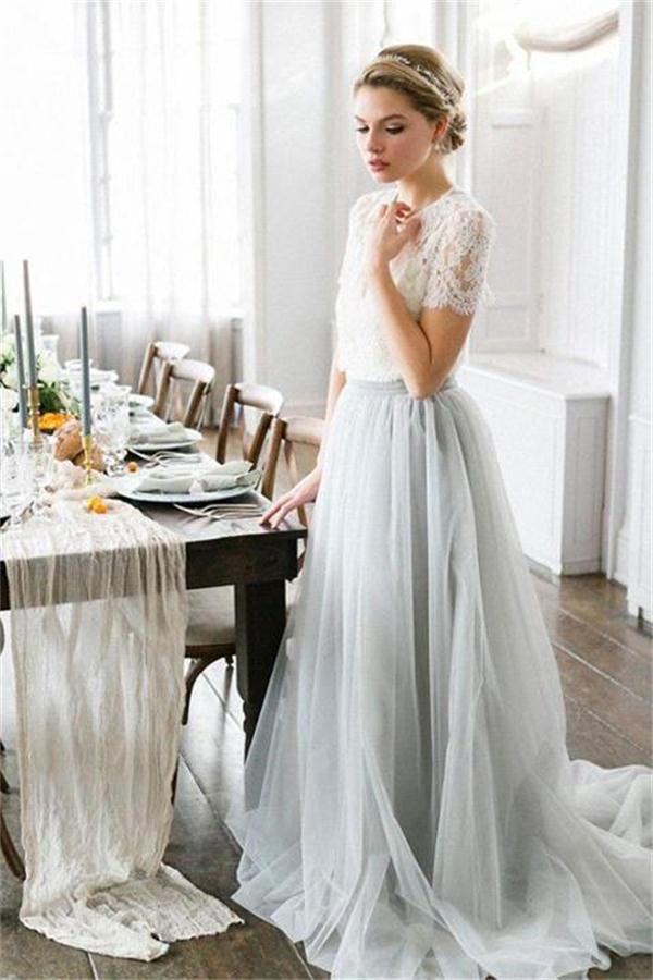 Elegant Ivory And Gray Long Lace Tulle Simple Flowy Prom Dresses Z0966