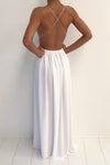 Classy Simple A-line Deep V-neck Long White Chiffon Prom Dresses Z0968