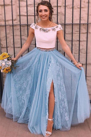 Elegant 2 Pieces White And Sky Blue Beaded Lace Long Prom Dresses Z0973