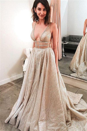 Charming Sparkly V-neck Open Back Sequin Shiny Long Prom Dresses Z0975