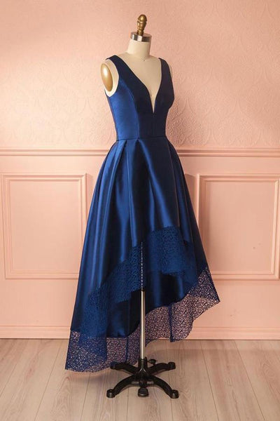 Deep V-neck Simple High Low Blue Satin Lace Backless Prom Dresses Z0987
