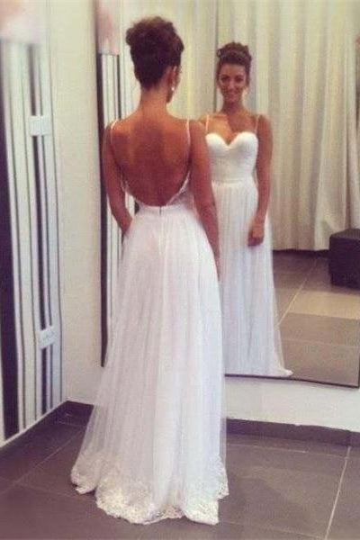 Simple Cheap Elegant Long Spaghetti Straps Beach Wedding Dresses Z0988