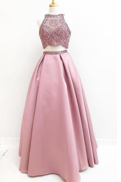 2 Pieces Cute Pink A-line Long Beading Floor Length Prom Dresses Z0997