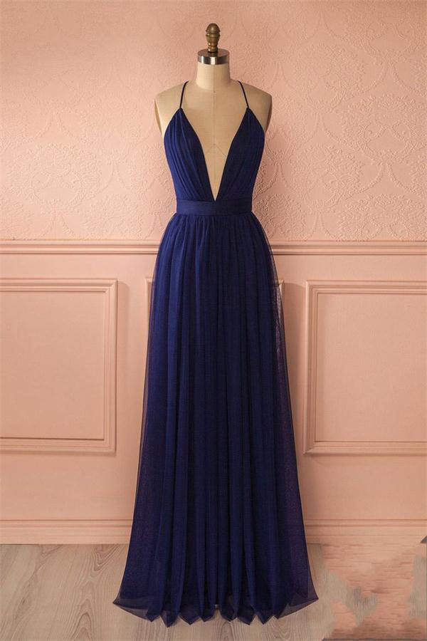 Flowy Simple Open Back Blue Tulle Long V-neck Classy Prom Dresses Z0998