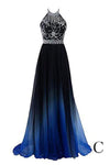 Beautiful Halter Long Blue And Black Ombre Chiffon Prom Dresses Z1000