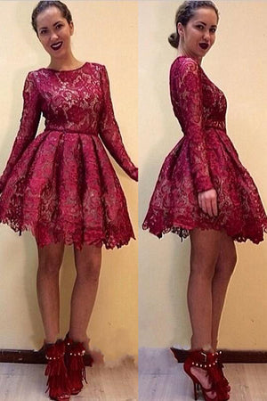 Red Long Sleeves Lace Short Homecoming Dresses Cocktail Dresses Z1011