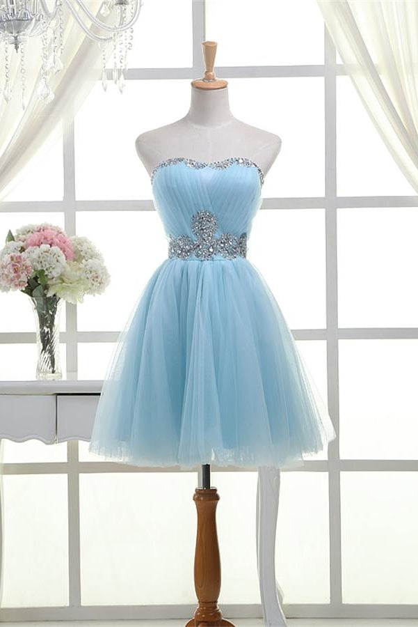 Elegant Light Blue And Silver Beading Tulle Lace Up Short Homecoming Dresses Z1101