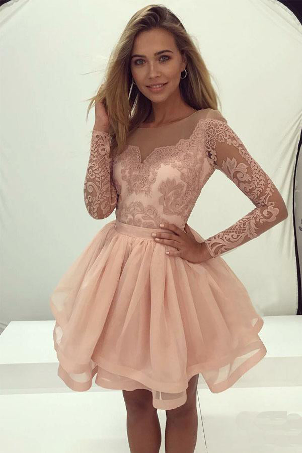 Pretty Long Sleeves Pink Lace Zipper Back Short Homecoming Dresses Z1020