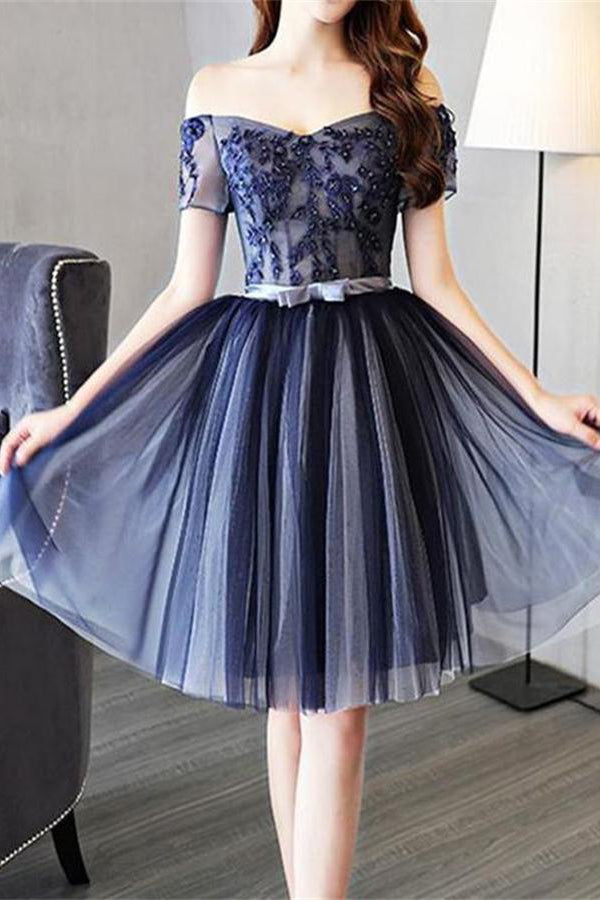 Off The Shoulder Short Lace Up Blue Lace Homecoming Dresses Z1026