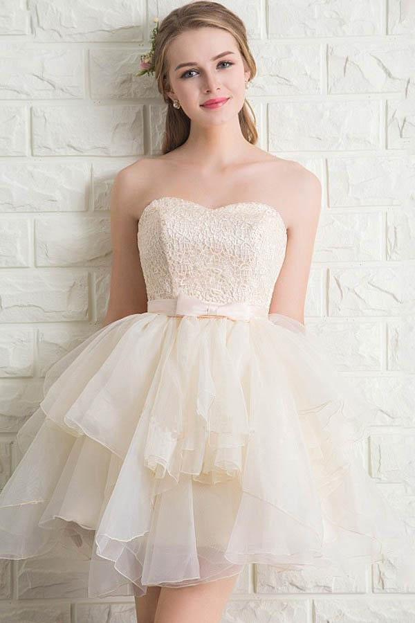 Elegant Strapless Lace Short Homecoming Dresses For Teens Z1028