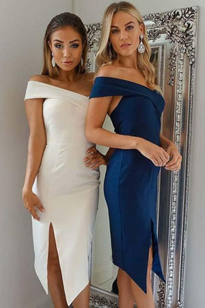 Pretty One Shoulder Sheath Open Back White Simple Homecoming Dresses Z1029