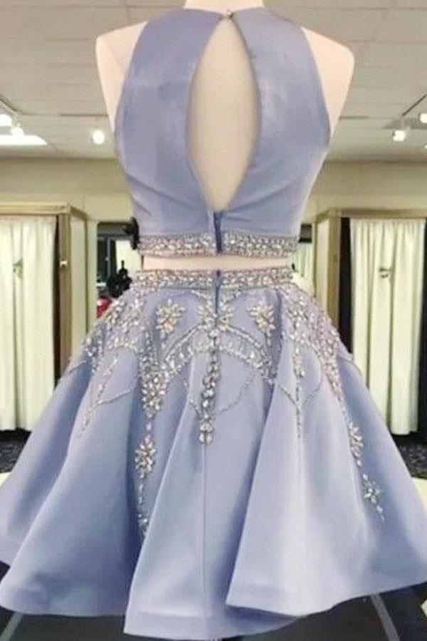 Elegant 2 Pieces Beaded Satin Blue Homecoming Dresses For Teens Z1036