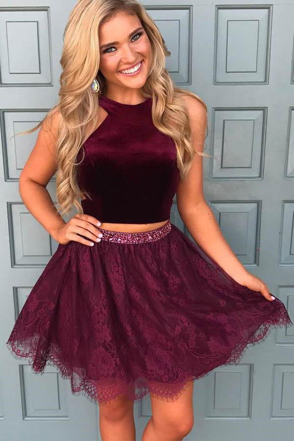 Modest 2 Pieces Lace Beading Plus Sizes Homecoming Dresses Z1041