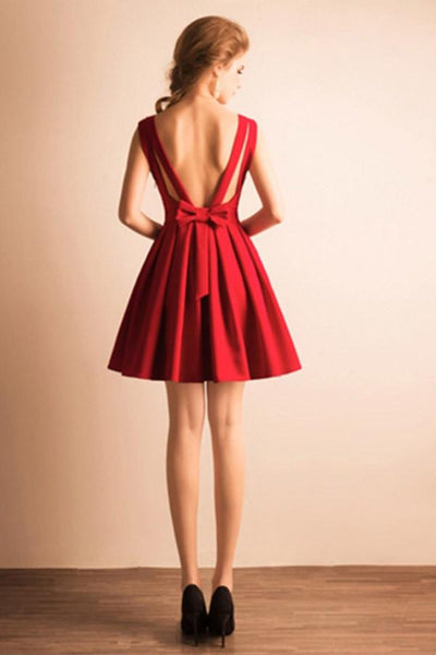 Cheap Simple Red Short Open Back V-neck Homecoming Dresses With Bow Z1047
