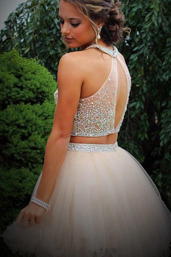 Sparkly Short 2 Pieces Beading Tulle Homecoming Dresses Prom Dresses Z1049