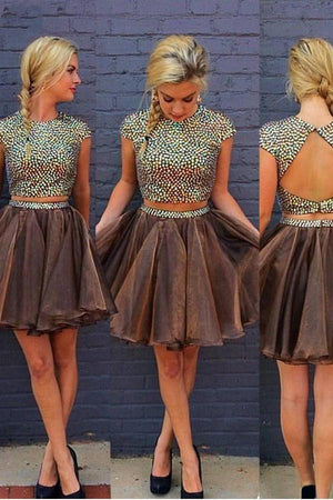 Pretty Brown Beading Cap Sleeves 2 Pieces Short A-line Homecoming Dresses Z1056