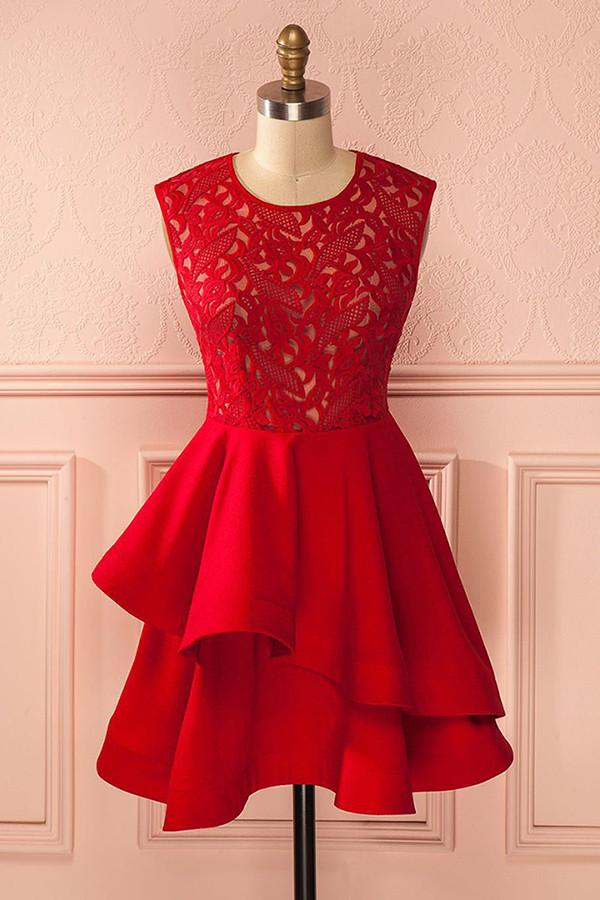 Modest Red Lace Satin Simple Cute Homecoming Dresses For Teens Z1057