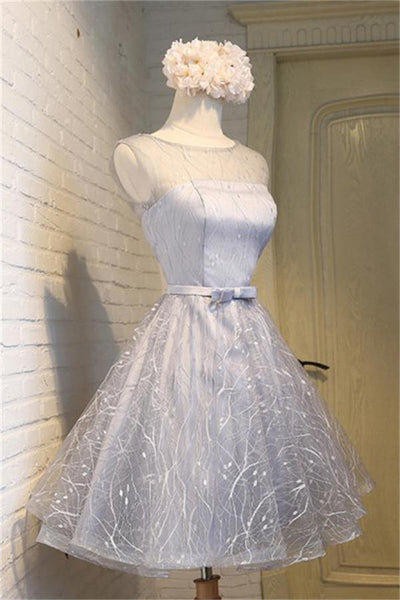 Charming Short Gray Open Back Lace Up Homecoming Dresses For Teens Z1068