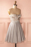 Sweetheart Elegant Short A-line Silver Homecoming Dresses Prom Dresses Z1071