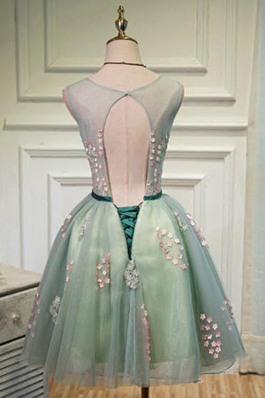 Beautiful Appliques Green Short Homecoming Dresses Cocktail Dresses Z1073