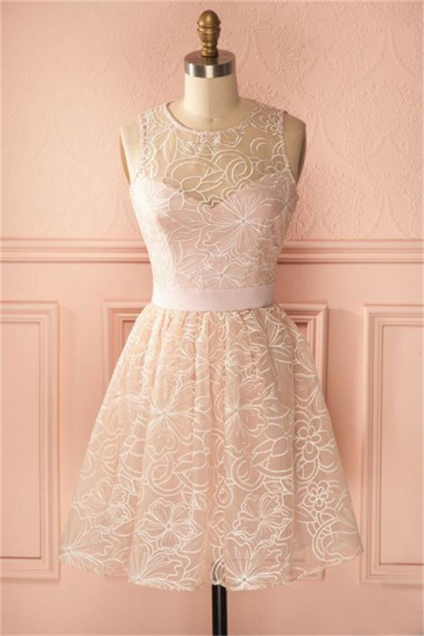 Elegant Pink Lace Short Homecoming Dresses Prom Dresses For Teens Z1075