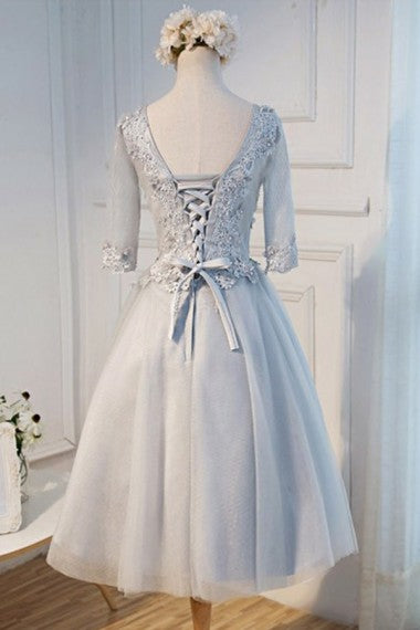 Vintage Half Sleeves Tea Length Gray Lace Tulle Homecoming Dresses Z1076