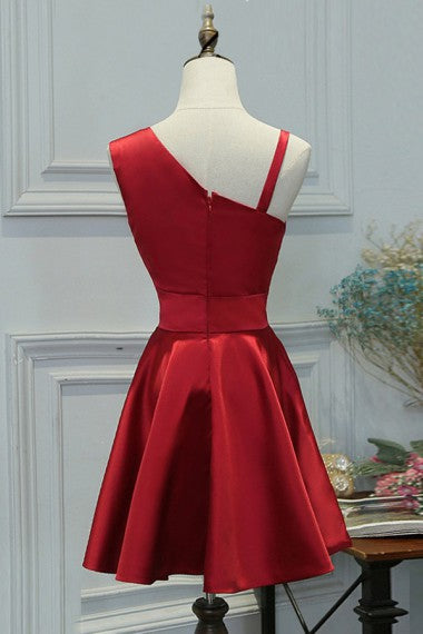 Cute Red Short Beautiful Satin Simple Elegant Homecoming Dresses Z1080