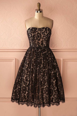 Sweetheart Zipper Back Black Lace Elegant Vintage Homecoming Dresses Z1083