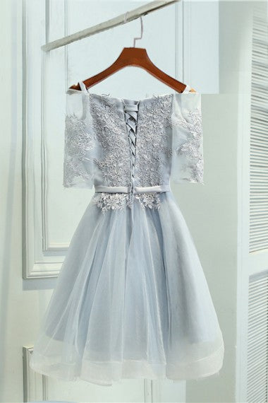 Half Sleeves Gray Lace Tulle Lace Up Short Cute Homecoming Dresses Z1084