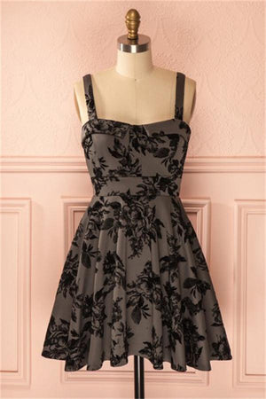 Spaghetti Straps Black Lace Homecoming Dresses Cocktail Dresses Z1091