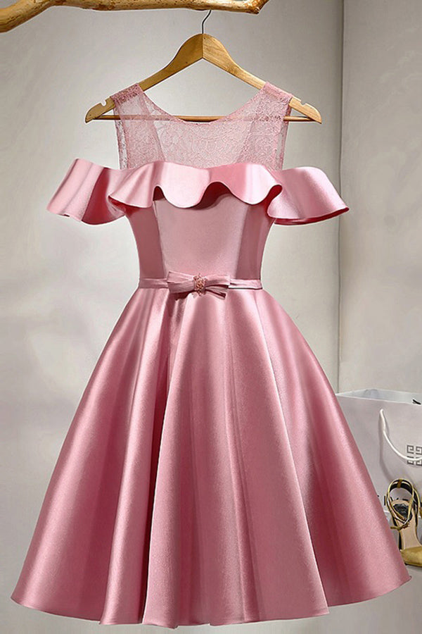 Pink Off The Shoulder Lace Satin Elegant Beautiful Homecoming Dresses Z1093