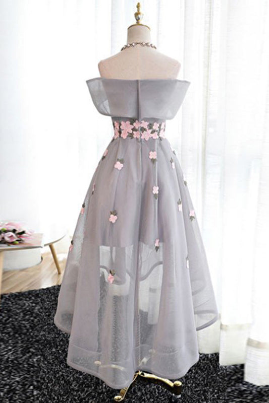 Elegant Gray High Low Homecoming Dresses Pretty Cocktail Dresses Z1096