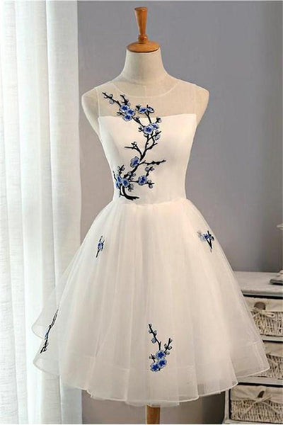 Charming Elegant Ivory Lace Up Tulle Short Homecoming Dresses Z1098