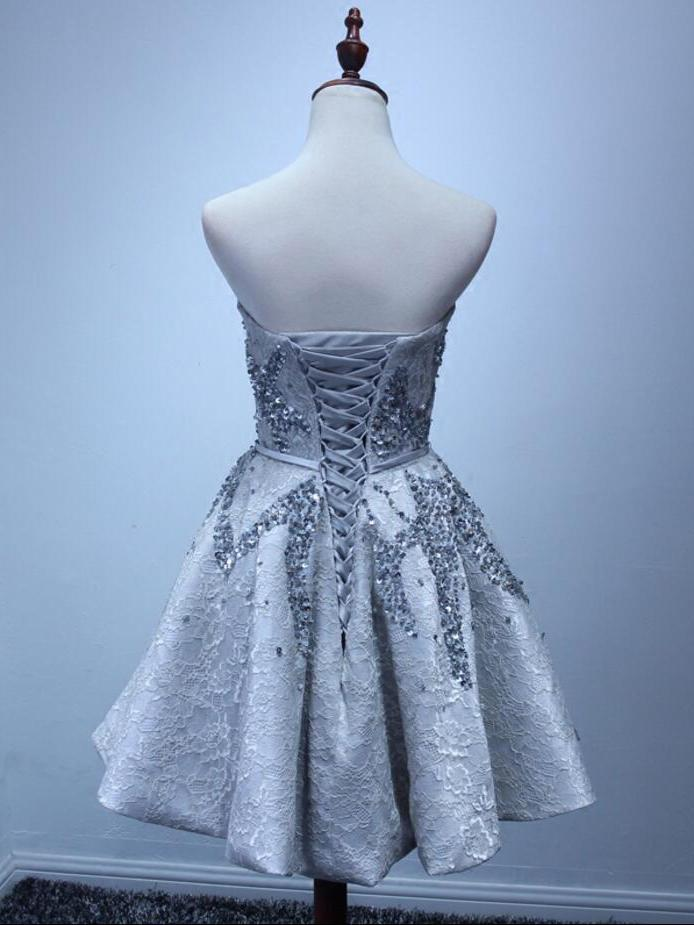Sparkly Silver Strapless Short Lace Beading A-line Homecoming Dresses Z1099
