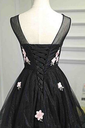Simple Short Modest Black Scoop Neckline Lace Up Homecoming Dresses Z1100