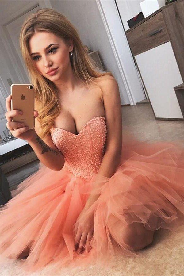 Sweetheart Orange Short Beading Tulle Sparkly Homecoming Dresses Z1103