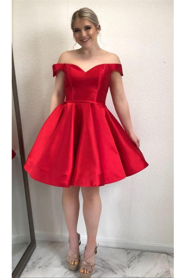 Sparkly Off The Shoulder Lace Up Simple Classy Red Homecoming Dresses Z1106