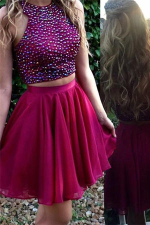Lovely 2 Pieces Beading A-lien Cute Homecoming Dresses Prom Dresses Z1112