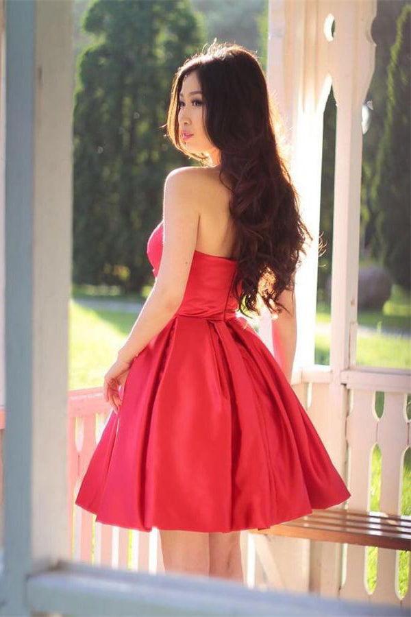 Modest Red Simple Sweetheart Cocktail Dresses Homecoming Dresses Z1113