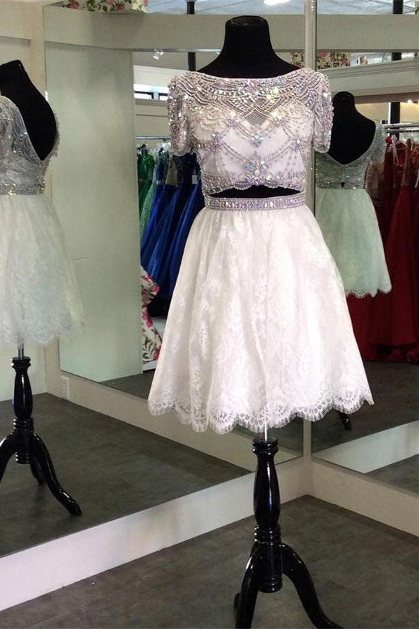 Ivory And Silver Elegant Short Sleeves Lace Beaded Homecoming Dresses Z1117