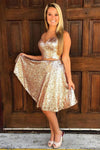 Sequin Shiny Short 2 Pieces V-neck Simple Cheap Homecoming Dresses Z1118
