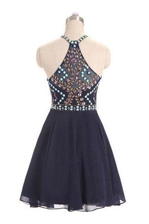 Formal Beading Chiffon Short A-line Navy Blue Homecoming Dresses Z1125