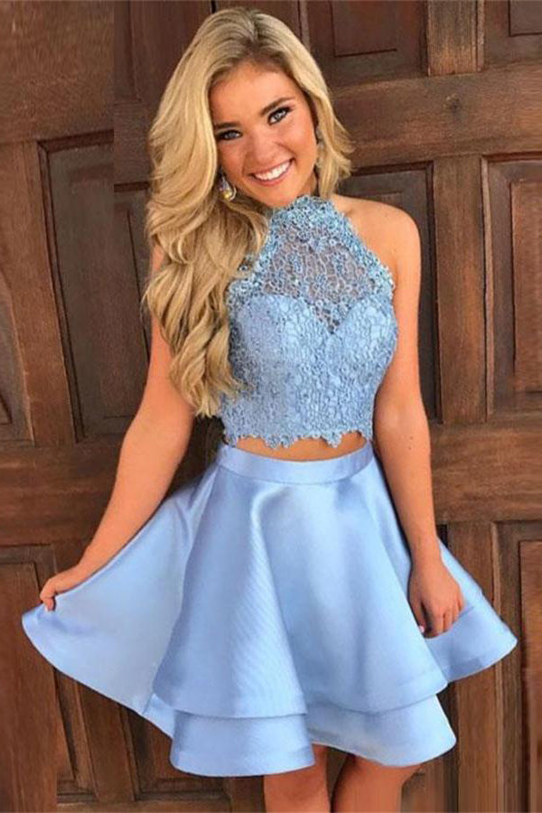 Simple Light Blue Lace Satin Short 2 Pieces Elegant Homecoming Dresses Z1132