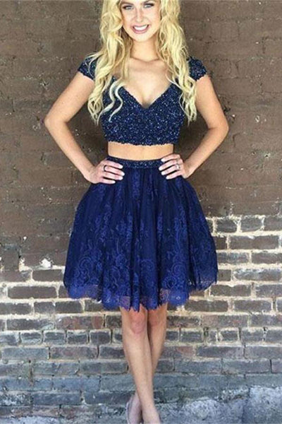 2 Pieces Lace Beading Short V-neck Blue Beading Homecoming Dresses Z1135